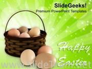 HAPPY EASTER DAY WITH EGGS IN BASKET POWERPOINT TEMPLATE