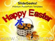 HAPPY EASTER WITH GOLDEN EGGS RELIGION POWERPOINT TEMPLATE