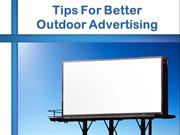 Tips For Better Outdoor Advertising