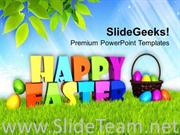 HAPPY EASTER THEME WITH MULTICOLORED EGGS THEME POWERPOINT TEMPLATE