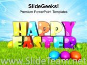 HAPPY EASTER WITH COLORED EGGS WITH SURPRISE POWERPOINT TEMPLATE