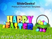 WISHES OF HAPPY EASTER WITH BRIGHT SKY THEME POWERPOINT TEMPLATE
