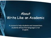 About Write Like an Academic