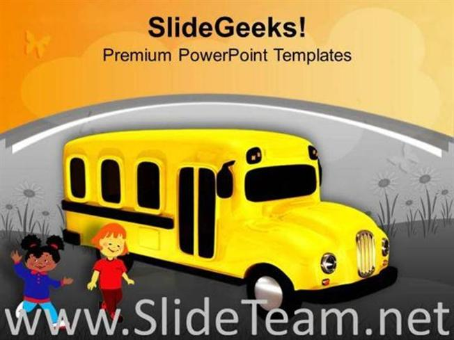 Yellow school bus with childrens education powerpoint template related powerpoint templates toneelgroepblik Images