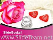 RINGS AND FLOWER WITH ROSE TO SHOW LOVE POWERPOINT TEMPLATE