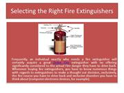Selecting the Right Fire Extinguishers