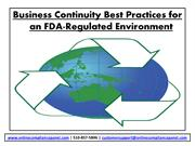 Business Continuity Best Practices For an FDA-Regular Environment