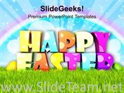 HAPPY ESTER WITH RAINBOW BACKGROUND POWERPOINT TEMPLATE