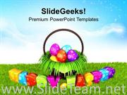 HAPPY EASTER EGGS IN GARDEN THEME POWERPOINT TEMPLATE