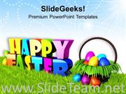 WISHING HAPPY EASTER WITH BASKET OF EGGS POWERPOINT TEMPLATE