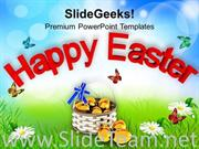 HAPPY EASTER WISHES WITH EGGS POWERPOINT TEMPLATE