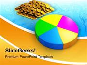 PIE CHART AND COINS BUSINESS POWERPOINT TEMPLATE