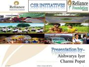 Corporate Social Responsibilities initiatives by Reliance