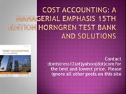 Cost Accounting 15rh Edition Horngren