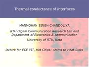 Thermal conductance of interfaces-MANMOHAN SINGH CHANDOLIYA