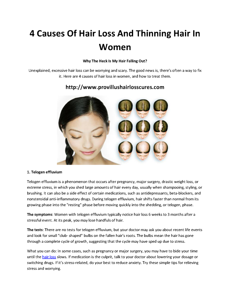 4 Causes Of Hair Loss And Thinning Hair In Women Authorstream
