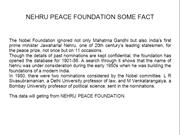 NEHRU PEACE FOUNDATION SOME FACT