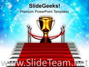 RED CARPET STAIRWAY TO TROPHY SUCCESS POWERPOINT TEMPLATE