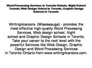 Word Processing Services in Toronto Onta
