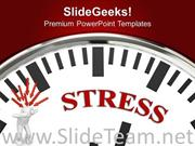 WHITE CLOCK WITH STRESS BUSINESS POWERPOINT TEMPLATE