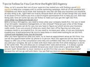 Tips to Follow So You Can Hire the Right SEO Agency