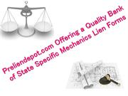 Preliendepot.com Offering a Quality Bank of State Mechanics Lien Forms