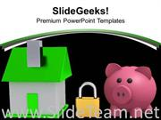 HOUSE LOCKED WITH PADLOCK SECURITY POWERPOINT TEMPLATE