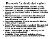 Protocols for distributed system