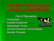 d- PROJECT PROPOSAL IN ANIMAL PRODUCTION