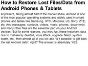 How to Restore Lost FilesData from Android Phones & Tablets