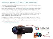 Import Sony AX1 4K XAVC S to FCP and Burn to DVD