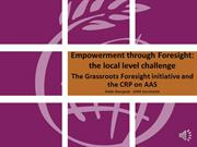 Empowerment through foresight: the local level challenge