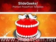 LOVE SYMBOL AND CAKE WEDDING POWERPOINT TEMPLATE