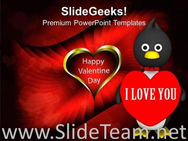 Valentine Penguin Isolated Winter Powerpoint Template Powerpoint