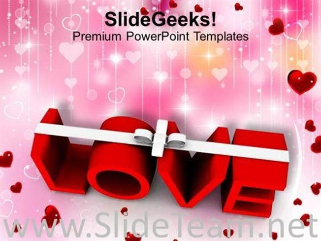 word love with white ribbon symbol powerpoint template powerpoint