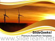 RENEWABLE WINDMILLS ENVIRONMENT POWERPOINT TEMPLATE