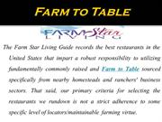 Sustainable Agriculture for Farm to Table Recipes