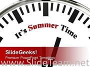 WHITE CLOCK WITH WORD ITS SUMMER TIME POWERPOINT TEMPLATE