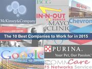 The 10 Best Companies to work for in 2015