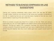 Methods to Business Companies On line Suggestions