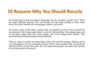 10 Reasons Why You Should Recycle