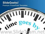 WHITE CLOCK WITH WORD TIME GOES BY POWERPOINT TEMPLATE