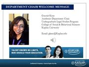 Department Chair Welcome Message 2015