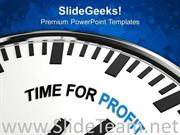 WHITE CLOCK WITH WORDS TIME FOR PROFIT POWERPOINT TEMPLATE
