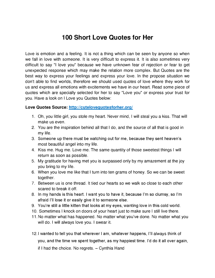 Top 60 Short Love Quotes For Her AuthorSTREAM Classy Short Love Quotes