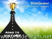 IMAGE OF ROAD TO VICTORY POWERPOINT TEMPLATE