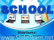 LAPTOPS WIRED TO SCHOOL CHILDREN POWERPOINT TEMPLATE