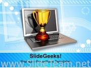 LAPTOP WITH GOLDEN TROPHY COMPUTER POWERPOINT TEMPLATE