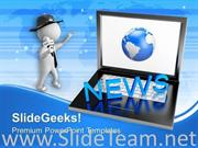 LAPTOP WITH NEWS JOURNALIST GLOBE POWERPOINT TEMPLATE