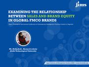 Impact of Brand Equity on Sales in Nestle, Johnson & Johnson & Danone